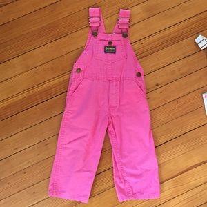  Vintage OshKosh Bright Pink Overalls